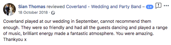 five star review for coverland party band