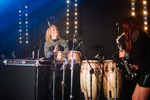 Girls International performing at a corporate event at ICC Wales, Newport, the best venue for live function bands