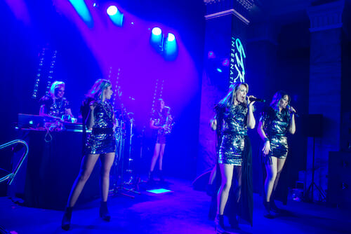 Corporate party entertainers Girls International on stage at The National Museum Cardiff