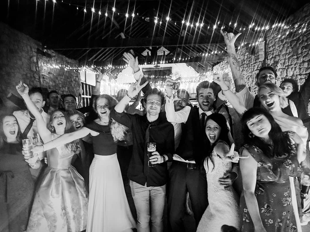 Wedding band in South Wales crowd selfie