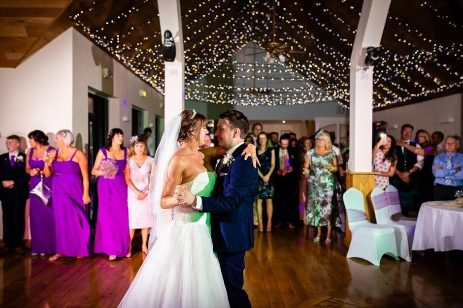 bride and groom first dance at Canada lodge